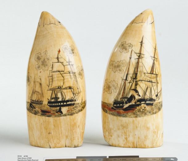 Sperm whale's teeth scrimshaw, early 1800s.
