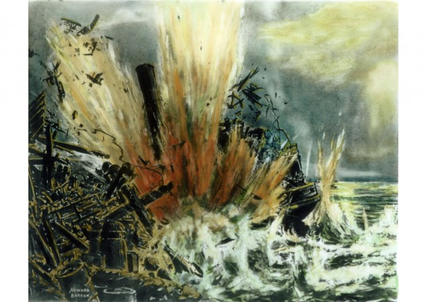 Wartime illustrator Howard Baron's depiction of the moment Kuttabul was struck. Courtesy Steven Carruthers.