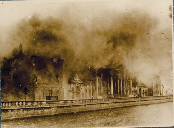 The Four Courts in Dublin ablaze on 30 June 1922. The building housed, among other things, centuries of records about families in Ireland. Image courtesy National Library of Ireland.
