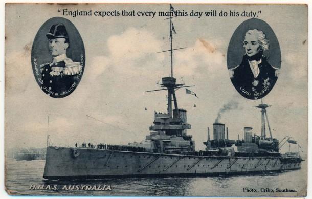 HMAS Australia departing Portsmouth, 1913 Courtesy ANMM Collection