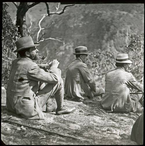Three men fro the Wallaby Club enjoying the views. Courtesy of Royal Historical Society of Victoria.