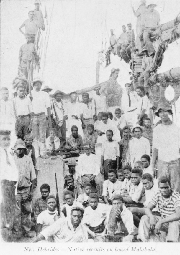 South Sea Islanders from New Hebrides on board the 'Malakula'. Courtesy of State Library of Queensland.