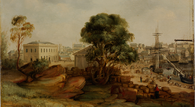 Custom House and The Rocks in 1845, by George Peacock. Courtesy City of Sydney's Barani website and State Library of NSW.