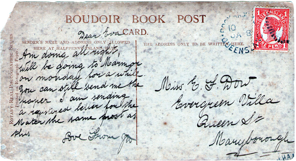Postcard for E F Dow