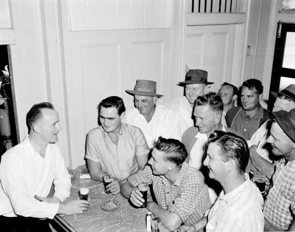 Irish immigrant John O'Sullivan migrated from Limerick in 1951 and is pictured here with locals in 1962 as the licensee and manager of the Mellum Club Hotel at Landsborough in Queensland. (NAA: a12111, 1/1962/13/24)