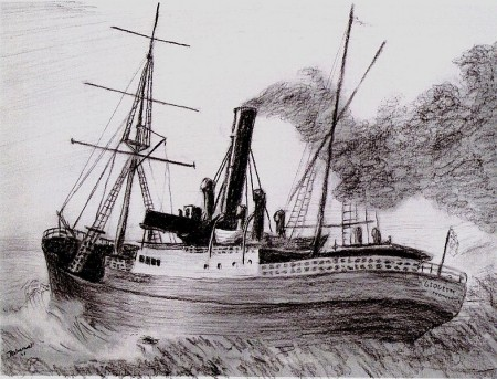 A charcoal drawing of the SS Georgette based on an image at Fremantle Prison, 2006. Courtesy of Wikimedia Commons