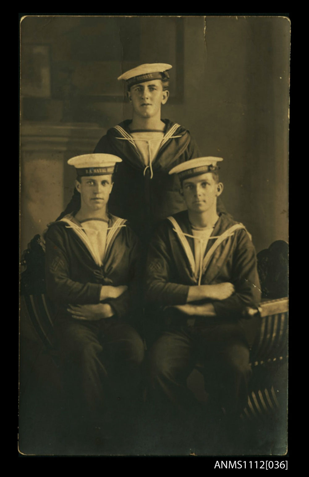 Studio portrait of Douglas Fraser (bottom left) and his two friends at the time of his joining the RANB