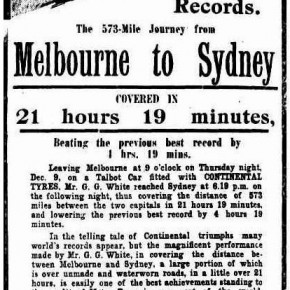 A description of White's Melbourne-Sydney journey in a Continental Tyres advertisement, 1913.