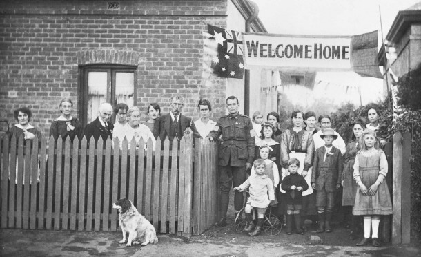 "A ""welcome home"" celebration for  Arthur Findon Dunbar MM, 2nd Australian Tunelling Company (in uniform) at 45 Chief Street, Brompton, South Australia in 1919. Courtesy Australian War Memorial, ID P05328.001"