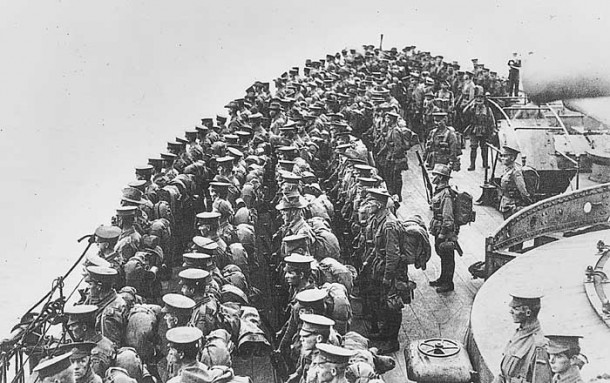 10th Battalion in formation on the deck of HMS Prince of Wales, 24 April 1915. The battleship is leaving Mudros Harbour on its way to Gallipoli. [AWM A01829]