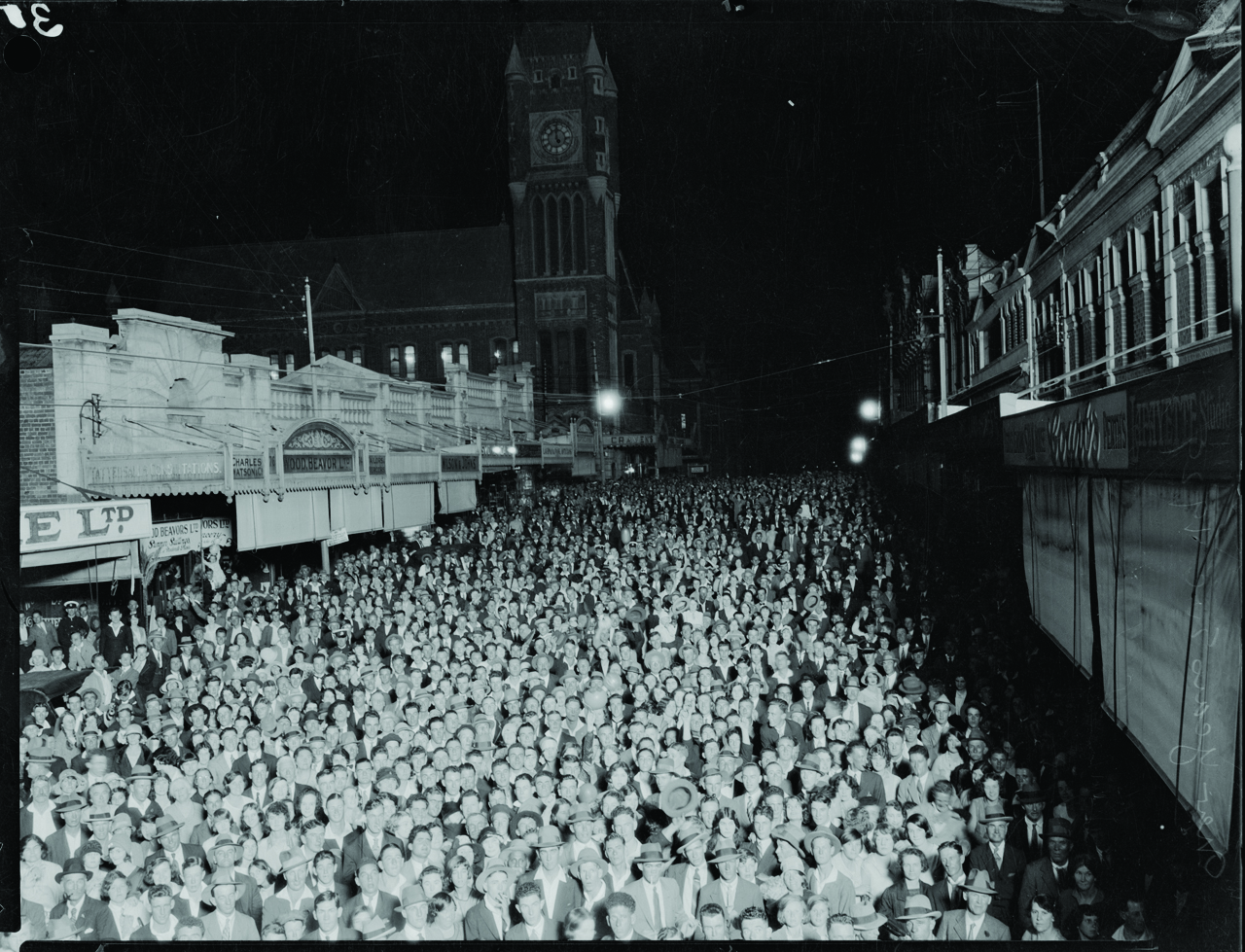 NYE revellers in Barrack St, Perth 1929. Courtesy State Library of WA