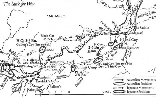 A map showing Australian and Japanese positions close to Wau. Courtesy David Buckwalter.