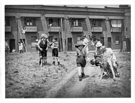 A scene from Kid Stakes, a silent film shot  in 1927 around an inner-city suburb of Sydney. Could your ancestor have appeared in it?