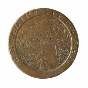 A convict love token made from a 1797 penny.