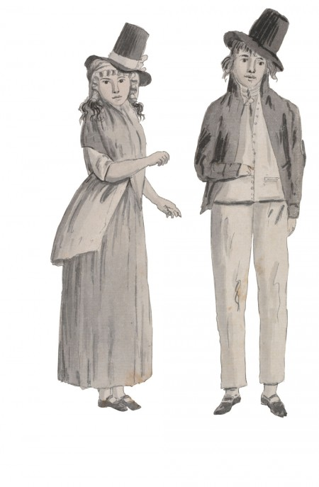 A female and male convict, in a watercolour by Juan Ravenet in 1789–94. Courtesy State Library of NSW.