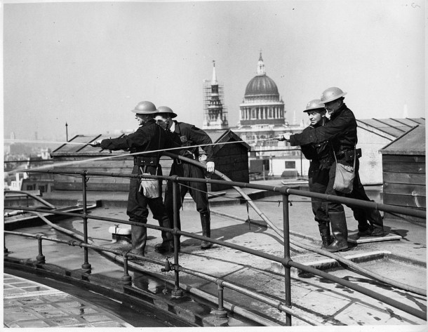 Auxiliary Fire Brigade hose drill on Bank of England roof in WWII. Courtesy Bank of England Archive