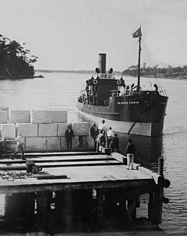 About to load the Sir Arthur Dorman. The first granite shipment to leave Moruya.