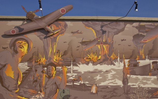 Darwin Harbour Mural depicting the first day of the Bombing of Darwin 19th February 1942, and pays tribute to all the waterside workers and seafarers who lost their lives at Stokes Hill Wharf, 'Town Wharf'