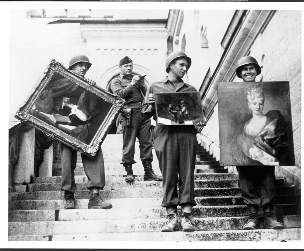 The real-life Monuments Men on the steps of Neuschwanstein Castle.  Courtesy National Archives and Records Administration, College Park, MD.