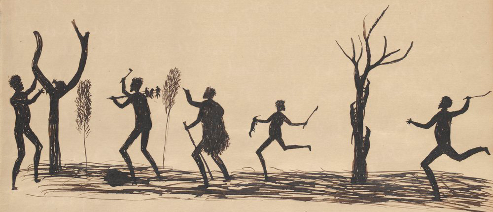 Ink drawing by  19th-century Aboriginal artist, Tommy McCrae.  Courtesy State Library of Victoria, ID H141226/1.