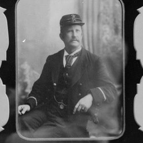 Railway Stationmaster William Hughes, 1897. Courtesy Verey Collection and Frank Mitchell.