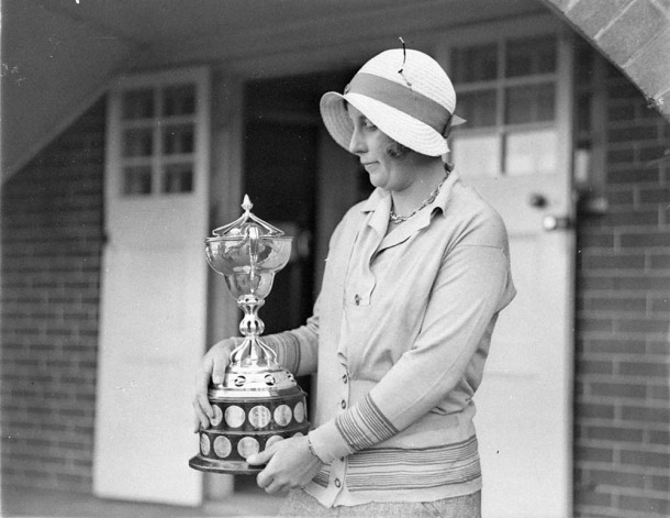 The first prize trophy won by a golfer, c.1930s. Courtesy State Library NSW.