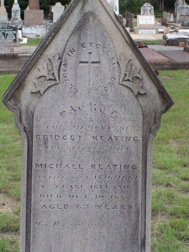 The gravestone of Bridget Keating, in Cabarlah Cemetery. Courtesy Pauleen Cass.