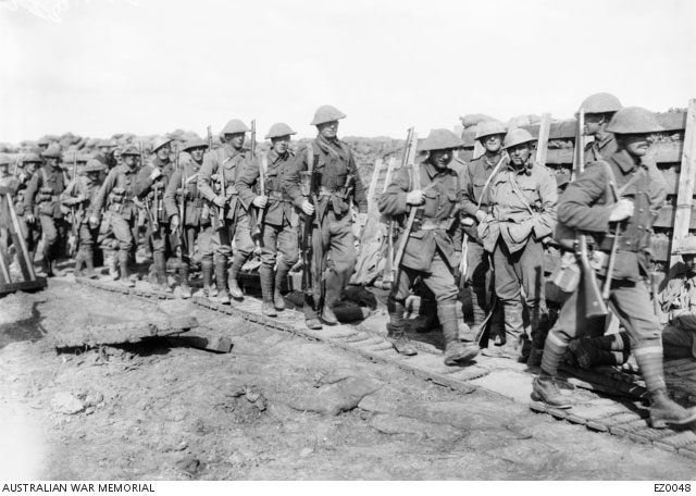 Unidentified Australian soldiers on their way to the front line in Northern France, 5 June 1916. Courtesy Australian War Memorial, ID EZ0048.