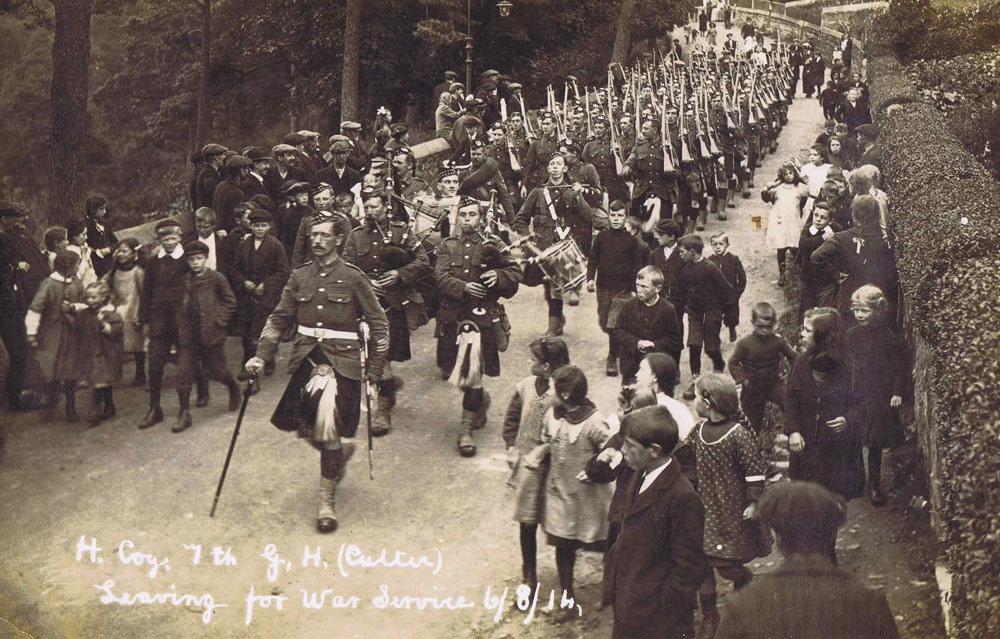 The Gordon Highlanders depart for the war, 1914. Courtesy Gordon Highlanders' Museum.