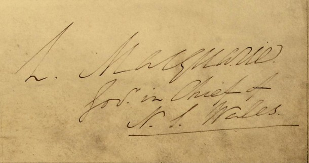 Macquarie's signature on the map. Courtesy National Archives, CO 700/NEWSOUTHWALES24