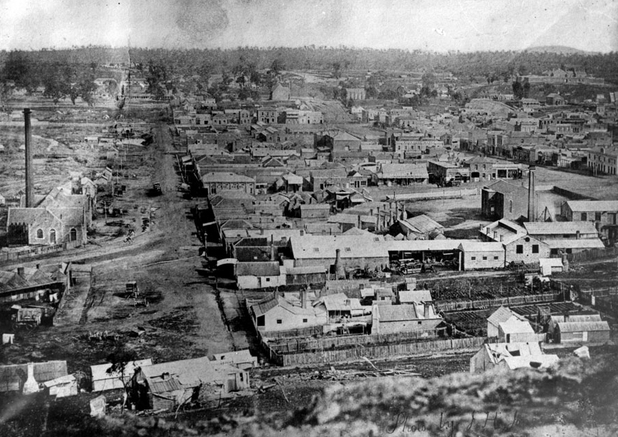 View of Castlemaine in the early 1860s. Courtesy Verey Collection.
