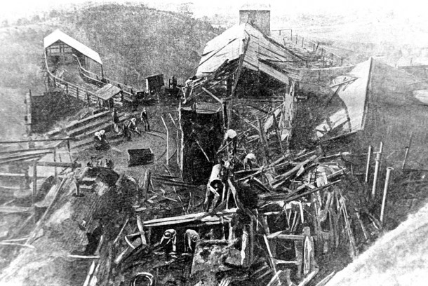 Wreckage after the Mt Kembla mine disaster. Courtesy University of Wollongong Archives.
