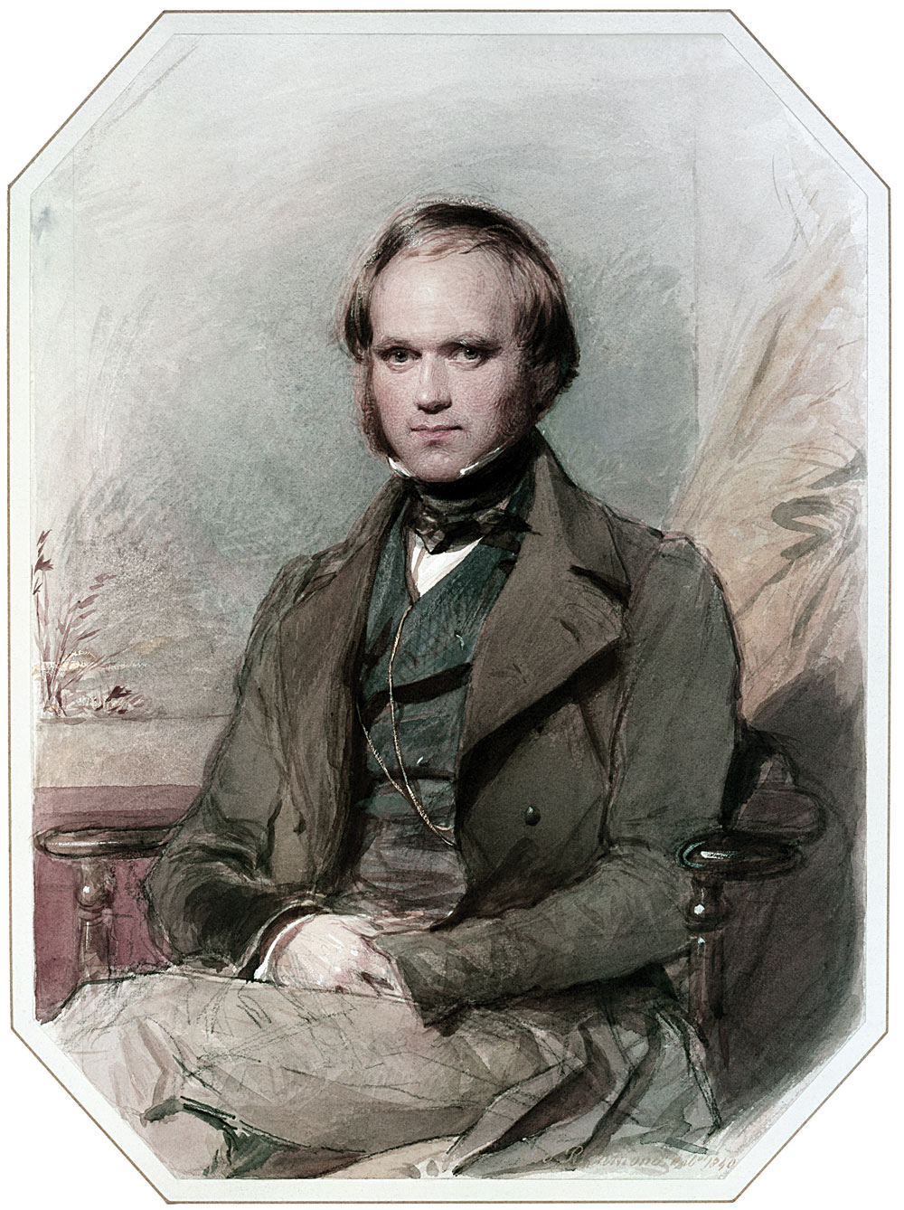 A young Charles Darwin, in a portrait painted by George Richmond in 1840.