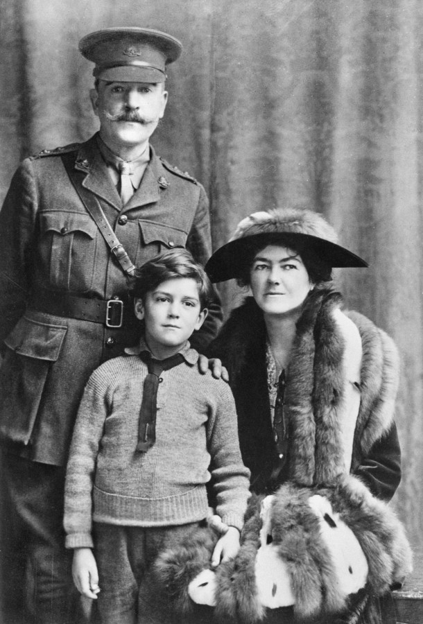A studio portrait taken in London of Lieutenant  Arthur Streeton, painter and Official War Artist, his son, Oliver and wife Nora. Courtesy Australian War Memorial.