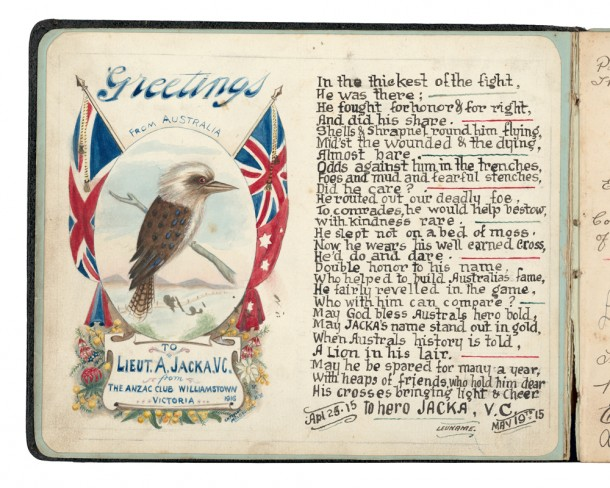 This illustrated poem about Jacka, produced by the Williamstown Anzac club in Victoria, typified the hero-worship that his VC action inspired. PR84/333 Australian War Memorial