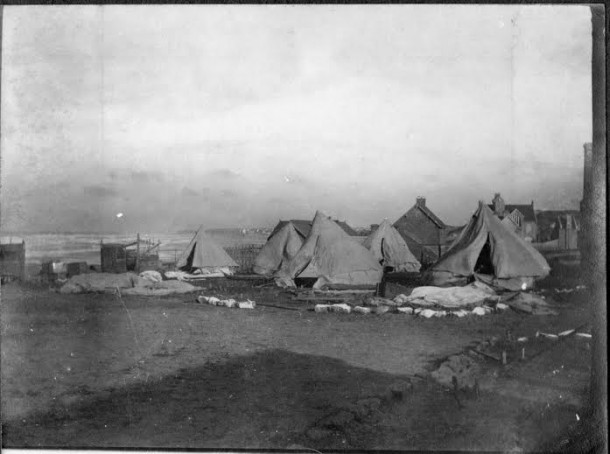 Tents at the Australian Voluntary Hospital in northern France following a storm. Courtesy Greaves Family Archive.