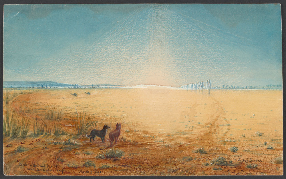 Ludwig Becker's last painting before he died - Border of the Mud Desert near Desolation Camp, 1861. Courtesy State Library of Victoria, ID H16486