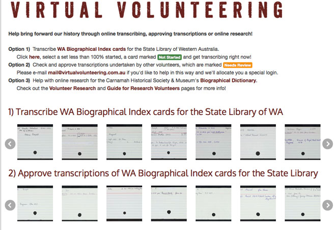 Click on the image to learn more about Virtual Volunteering for the State Library of Western Australia and Carnamah Historical Society.