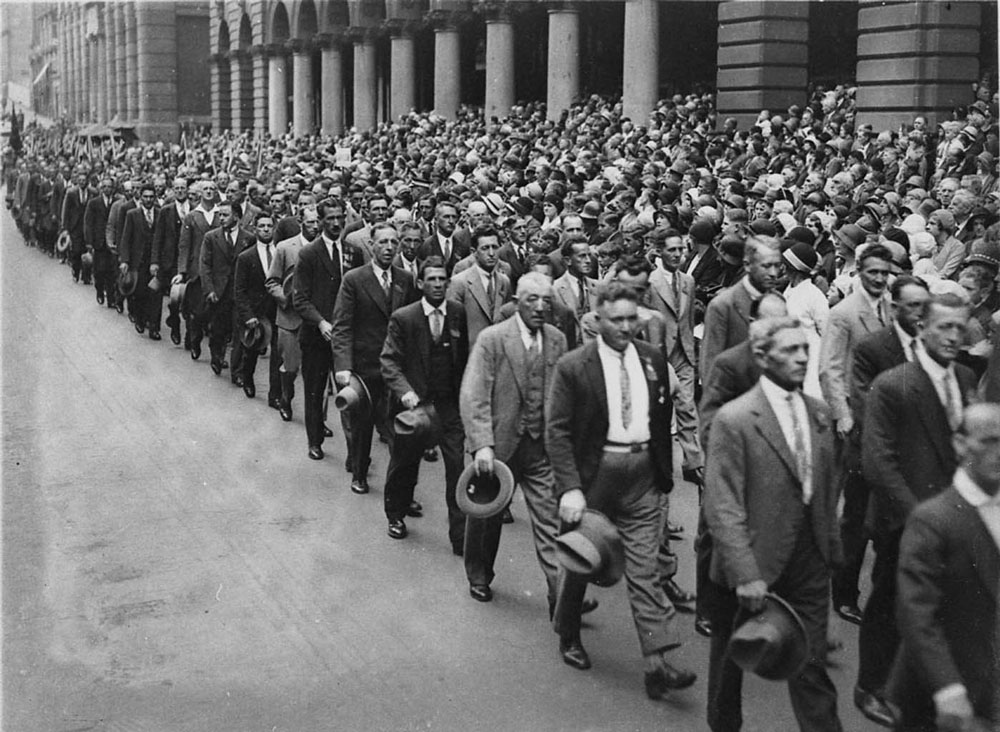 World War I veterans march in Martin Place, Sydney, c.1930s. Photographed by Sam Hood. Courtesy State Library of NSW, ID DG ON4/3783.