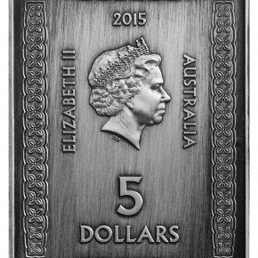 The limited edition 2015 $5 Fine Silver Antique Rectangular Coin by the RAM features a representation of King John's Great Seal from the 1215 Magna Carta.