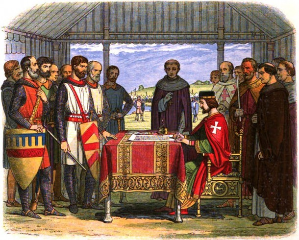 A romanticised 19th-century depiction of King John signing the Magna Carta, 1864. Courtesy Wikimedia Commons.