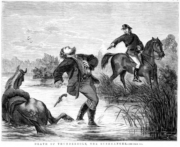 An engraving from 1865 illustrating the police chase of bushranger John Gilbert, as a family looks on in the background. Courtesy State Library of Victoria, ID IAN24/06/65/8.