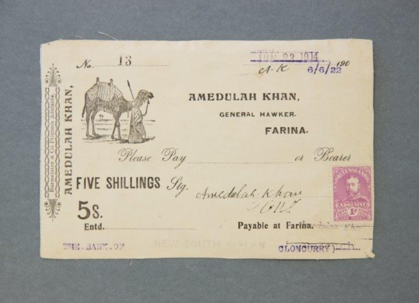 Promissory note issued by Amedulah Khan, General Hawker, in Farina, South Australia, 1914. Courtesy Sir John Ferguson Collection, National Library of Australia, ID MS3611.