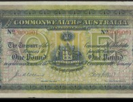 Commonwealth of Australia banknote, number P000001, 1913. Courtesy National Library of Australia, ID MS10145.