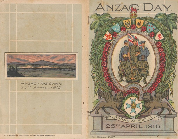 A booklet published by the Queensland Department of Public Instruction commemorating the first Anzac Day in 1916. Courtesy NMA and Sam Birch. Click on image for more.