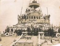 The crew of HMAS Encounter. Courtesy William Miller family.