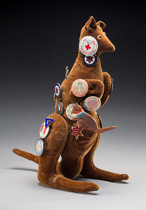 A toy kangaroo adorned with First World War badges or buttons that were sold to raise money. Courtesy NMA. Click the image for more