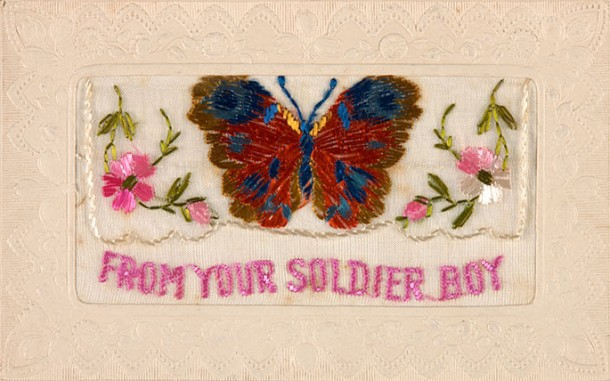 A silk-embroidered postcard sent by Alf Barkle from France to his mother. Courtesy NMA and Katie Shanahan. Click on image for more information