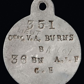 The identity disc of Vincent Alexander Burns, 36th Battalion, which shares identifying information. Courtesy NMA and Jason McCarthy.