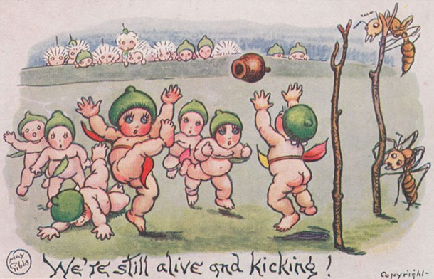 One of May Gibbs' gum nut cards that carried messages of home to soldiers on the front. Courtesy NMA and George Serras. Click on image for more.